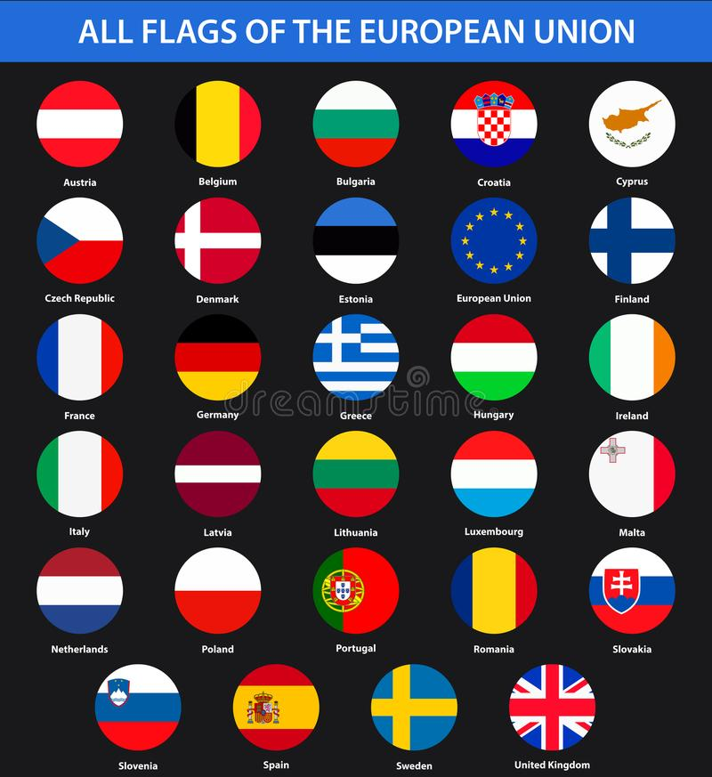 Alle Flaggen der Länder der Europäischen Gemeinschaft Flache Art lizenzfreie abbildung
