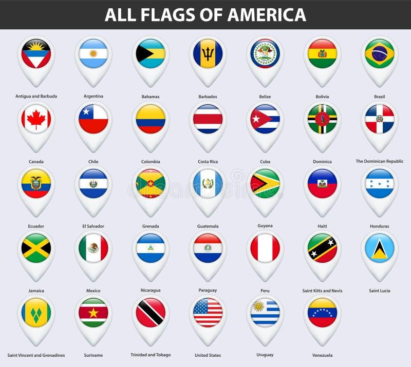 Alle Flaggen der Länder von Amerika Glatte Art des Pin-Kartenzeigers lizenzfreie abbildung