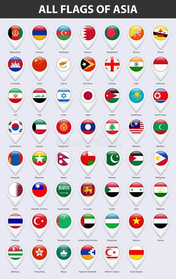 Alle Flaggen der Länder von Asien Glatte Art des Pin-Kartenzeigers lizenzfreie abbildung