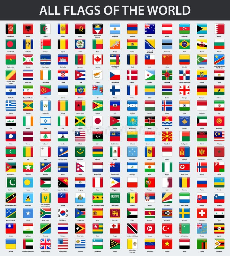 Alle Flaggen der Welt in alphabetischer Reihenfolge Quadratische glatte Art stock abbildung