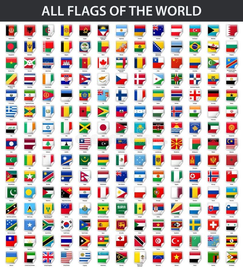Alle Flaggen der Welt in alphabetischer Reihenfolge Quadratische glatte Aufkleberart lizenzfreie abbildung
