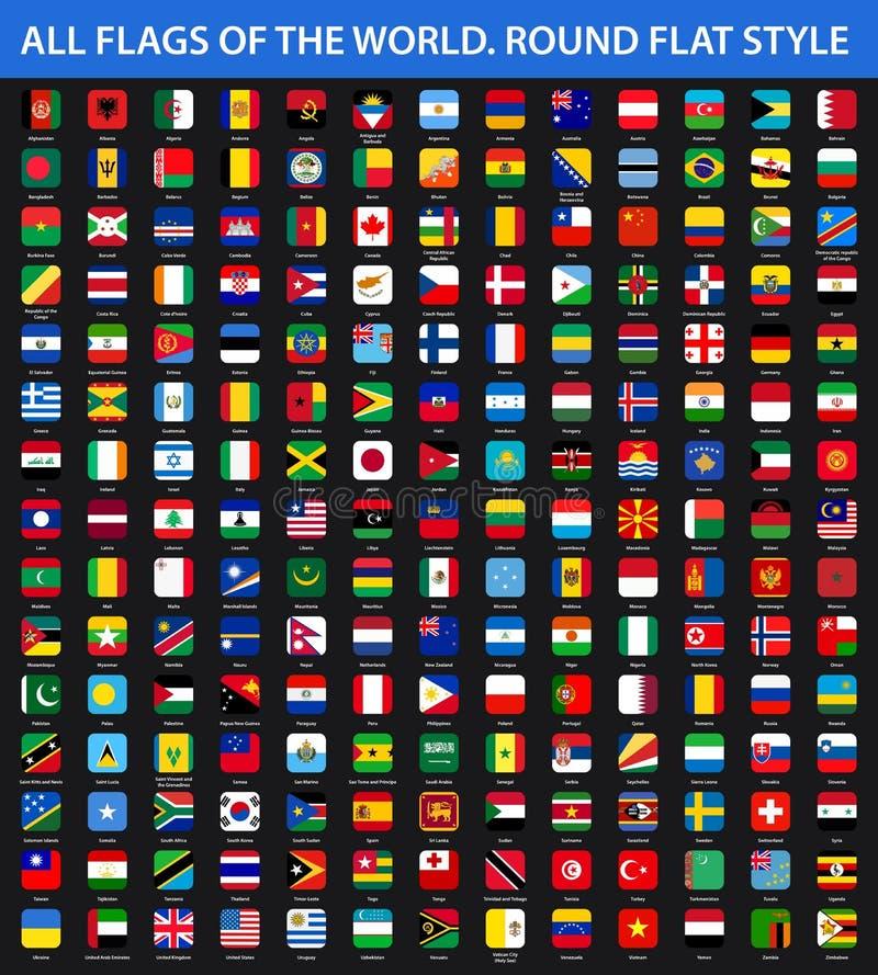 Alle Flaggen der Welt in alphabetischer Reihenfolge Runde flache Art stock abbildung