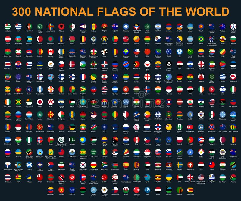Alle Flaggen der Welt in alphabetischer Reihenfolge Runde, glatte Art des Kreises lizenzfreie abbildung