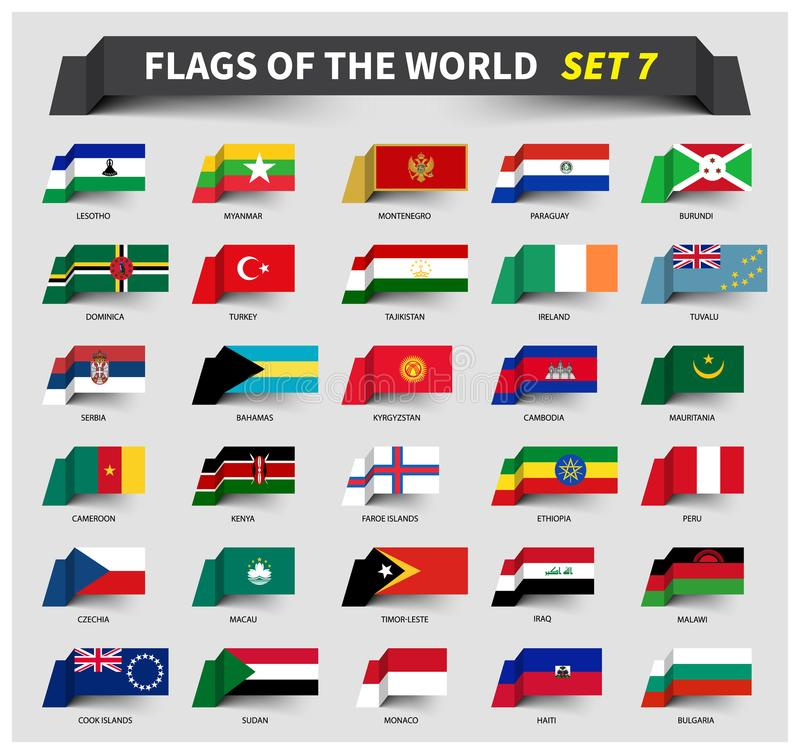 Alle Flaggen der Welt stellten 7 ein Wellenartig bewegende Bandart vektor abbildung