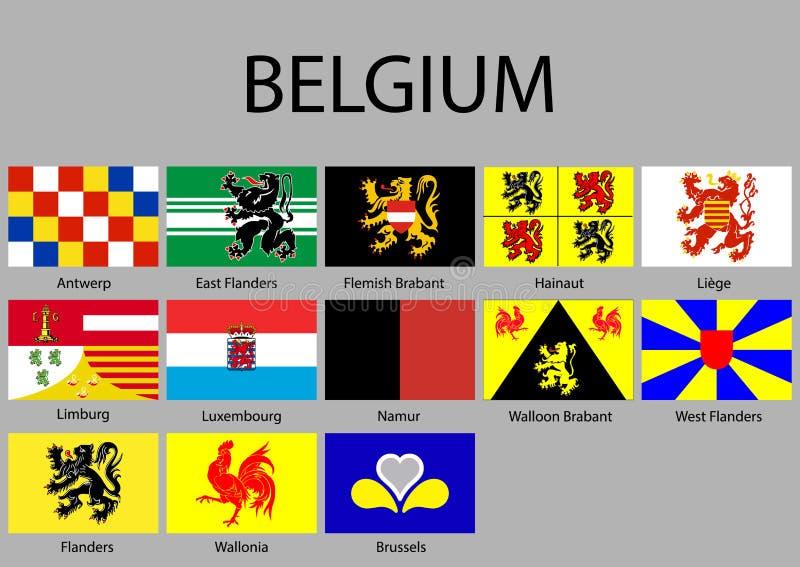 alle Flaggen von Regionen Belgien stock abbildung