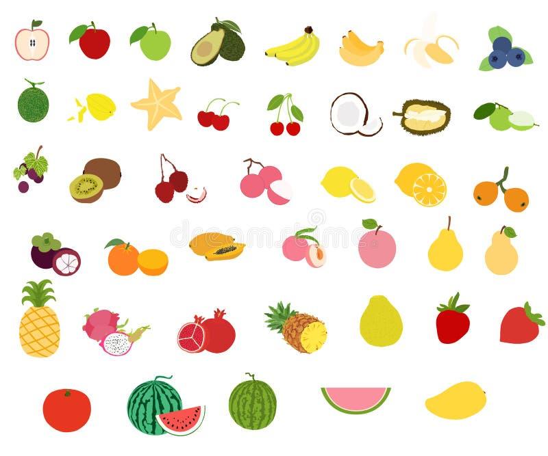 Alle Fruchtvektorikonen eingestellt auf weißen Hintergrund stock abbildung