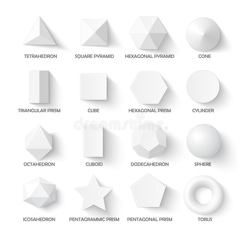 Alle Fundamentele 3d Vormen Vector Illustratie