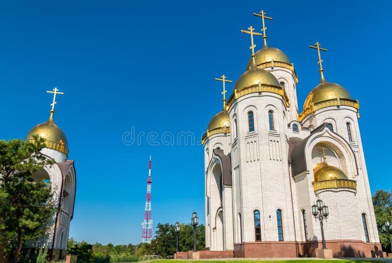 Alle Heilig-Kirche auf Mamayev Kurgan in Wolgograd, Russland stockfotografie