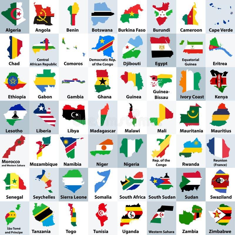 Alle Karten der afrikanischen Länder mischten mit ihren Staatsflaggen und vereinbarten in alphabetischer Reihenfolge stock abbildung