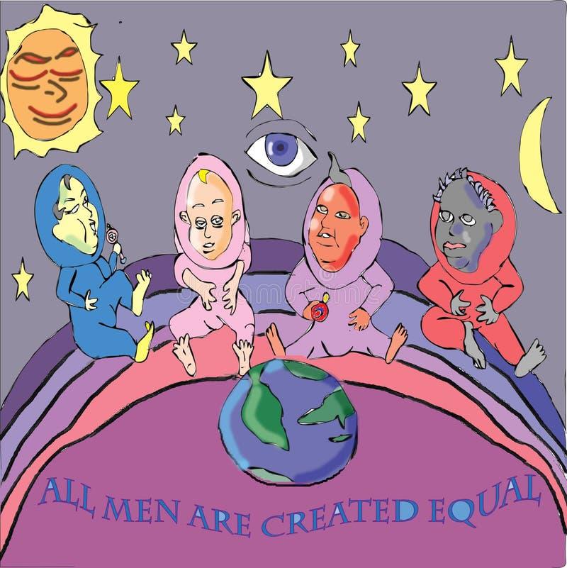 Alle Männer sind geschaffenes Gleichgestelltes stock abbildung