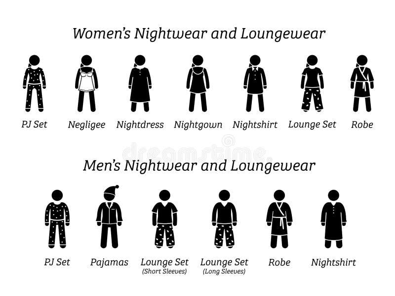Alle Männer und Frauen Nachtzeug und loungewear arbeiten Designe um stock abbildung