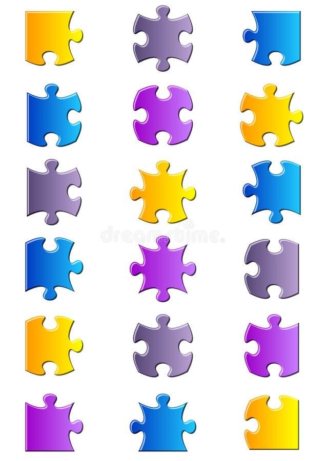 Alle möglichen Formen des Puzzlen stock abbildung