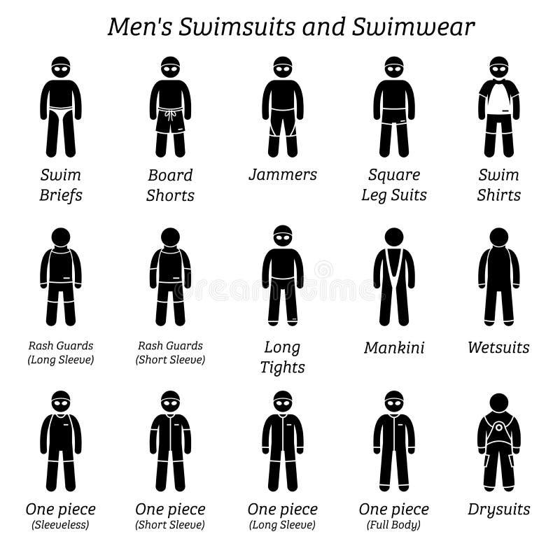 Alle Mannbadeanzug- und -badebekleidungsdesigne vektor abbildung