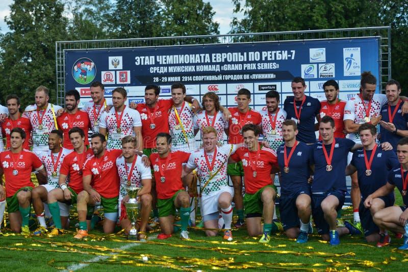 Alle Medaillengewinner des Rugbys 7 Grand- Prixreihe in Moskau lizenzfreies stockfoto
