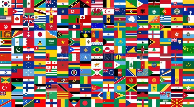Alle nationale vlaggen van de wereld Achtergrondstijl stock illustratie