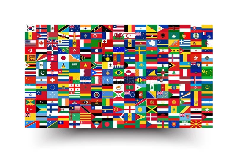 Alle nationale vlaggen van de wereld Achtergrondstijl vector illustratie