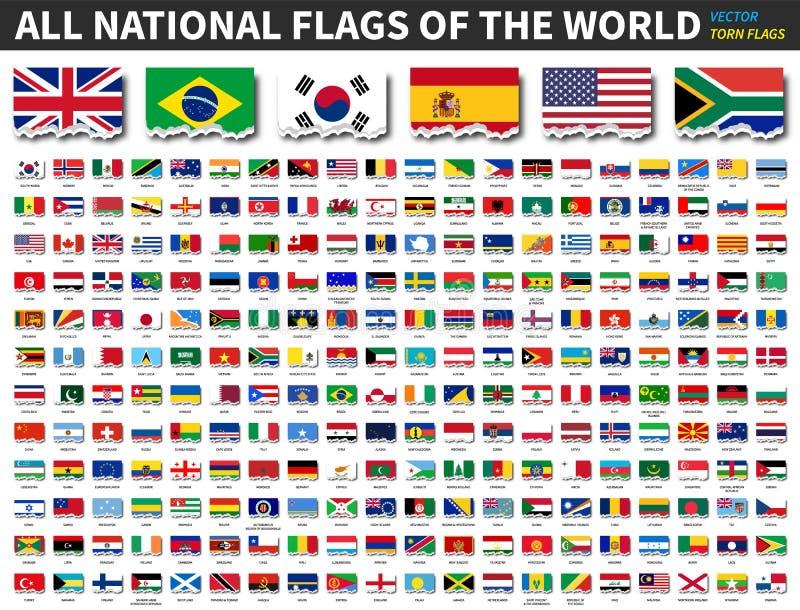 Alle nationale vlaggen van de wereld Gescheurd document ontwerp Vector stock illustratie