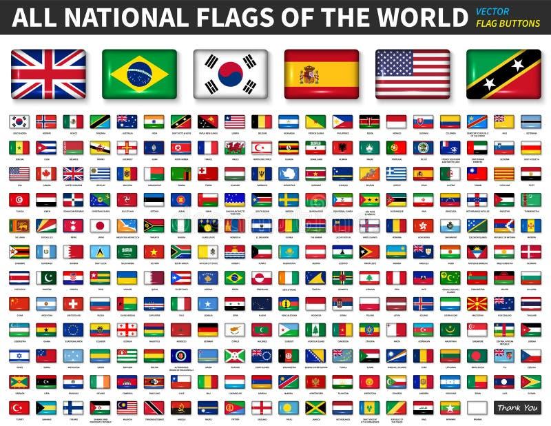 Alle nationale vlaggen van de wereld Glanzende convexe knoopontwerp en verhouding 4: 6 Elementenvector stock illustratie