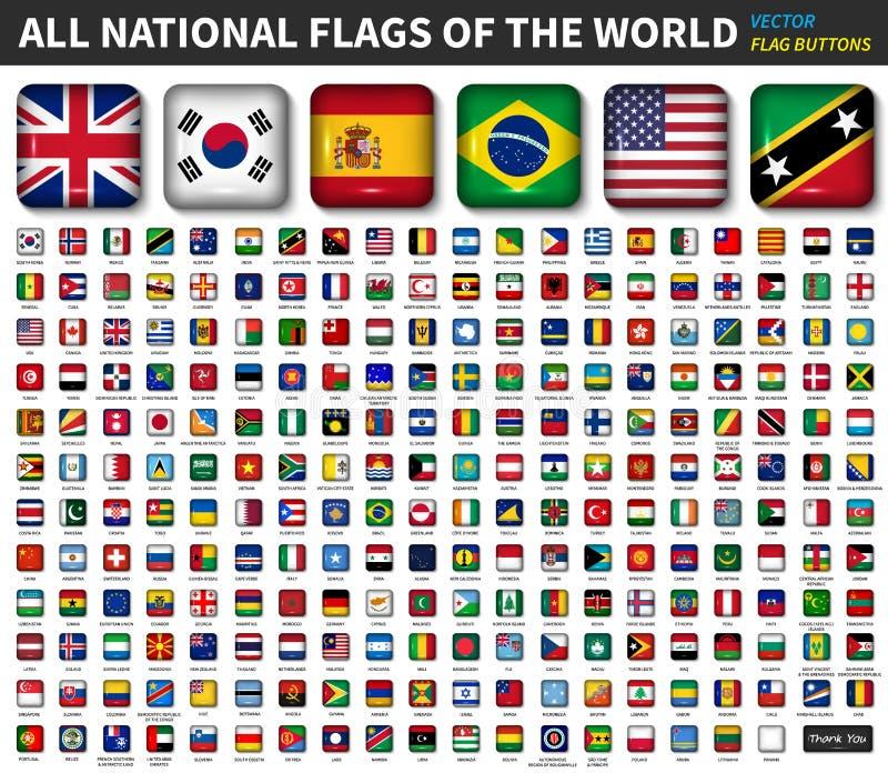 Alle nationale vlaggen van de wereld Het glanzende convexe ronde ontwerp van de hoek vierkante knoop Elementenvector stock illustratie