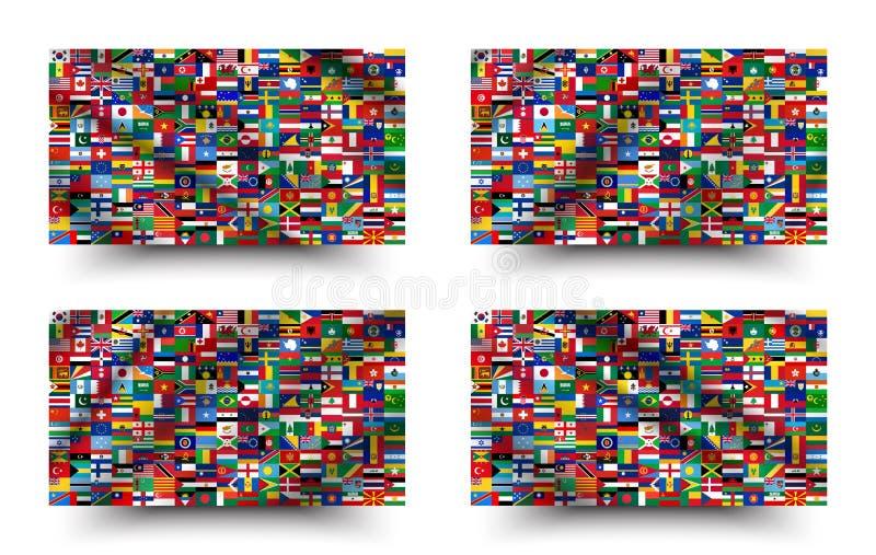 Alle nationale vlaggen van de wereld het golven en achtergrondstijl Vector vector illustratie