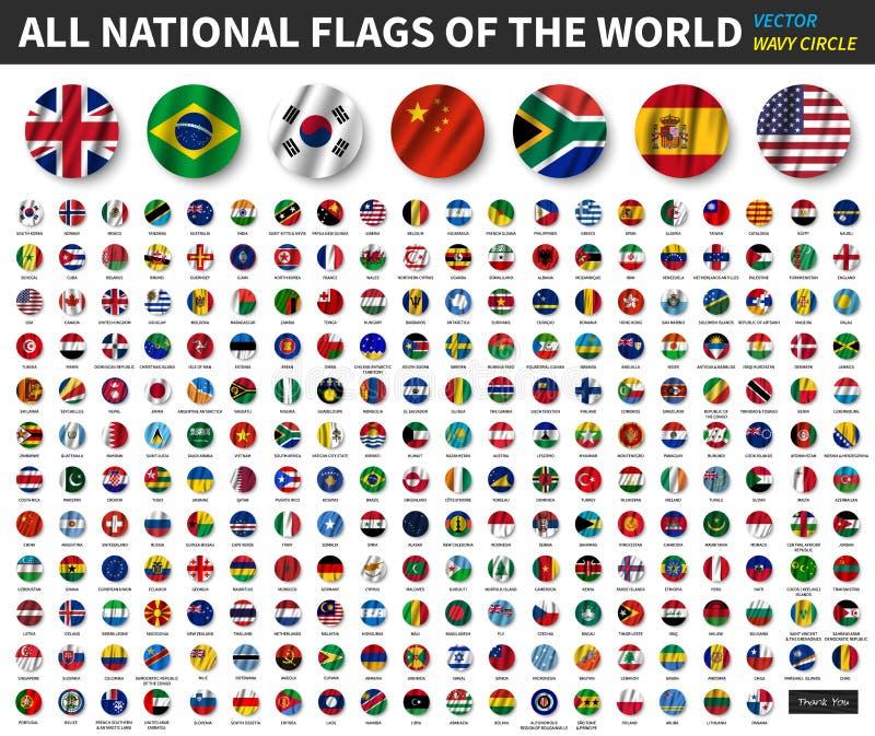 Alle nationale vlaggen van de wereld Het golven het ontwerp van de cirkelvlag Vector vector illustratie