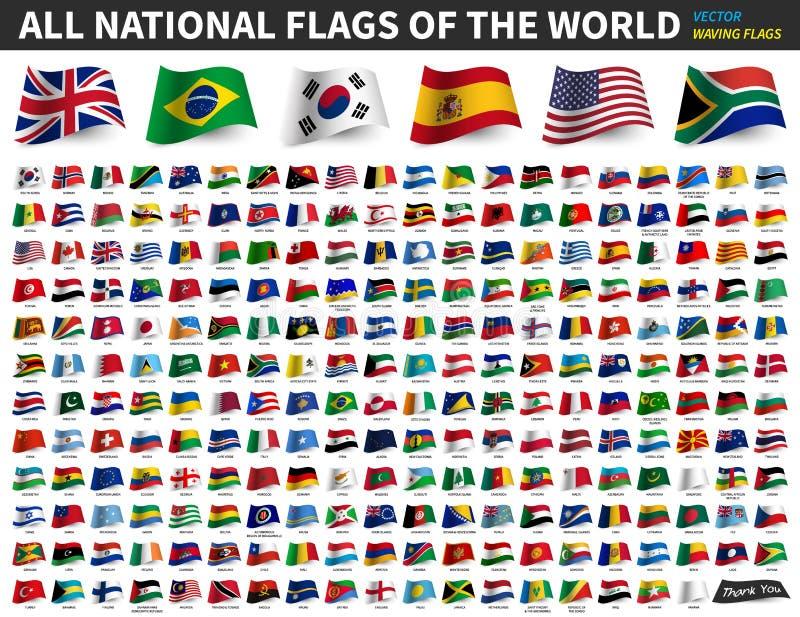 Alle nationale vlaggen van de wereld Het golven vlagontwerp Vector vector illustratie