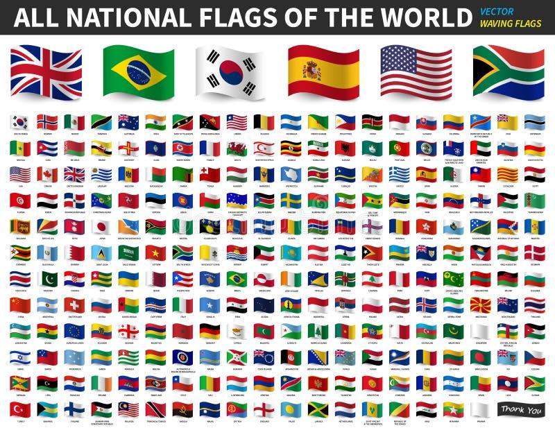 Alle nationale vlaggen van de wereld Het golven vlagontwerp Vector royalty-vrije illustratie