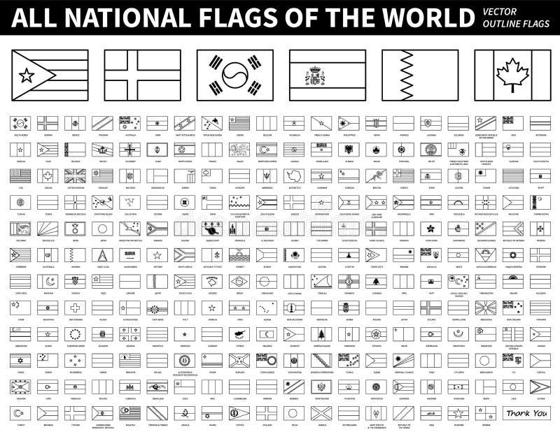 Alle nationale vlaggen van de wereld Het ontwerp van de overzichtsvorm De Vector van de Editableslag stock illustratie