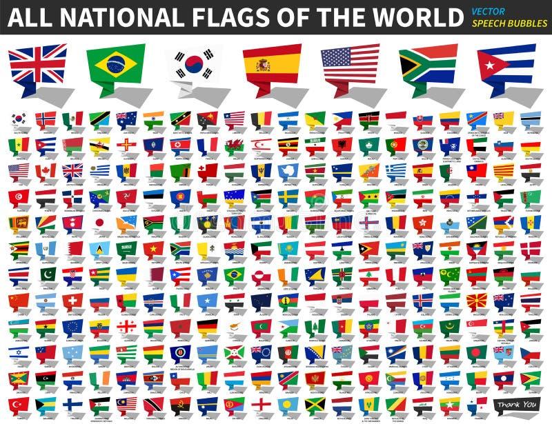 Alle nationale vlaggen van de wereld Het ontwerp van toespraakbellen Vector stock illustratie