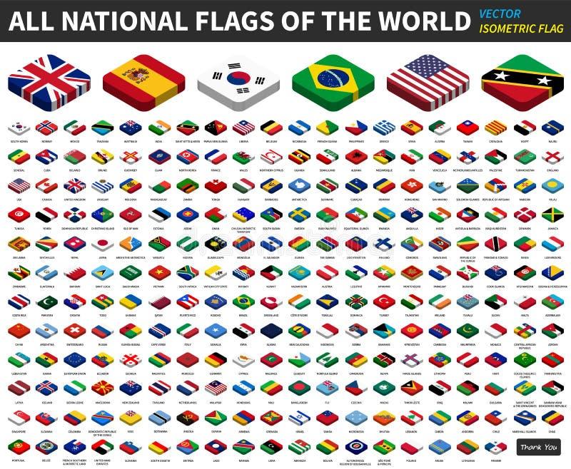 Alle nationale vlaggen van de wereld isometrisch hoogste ontwerp Vector royalty-vrije illustratie