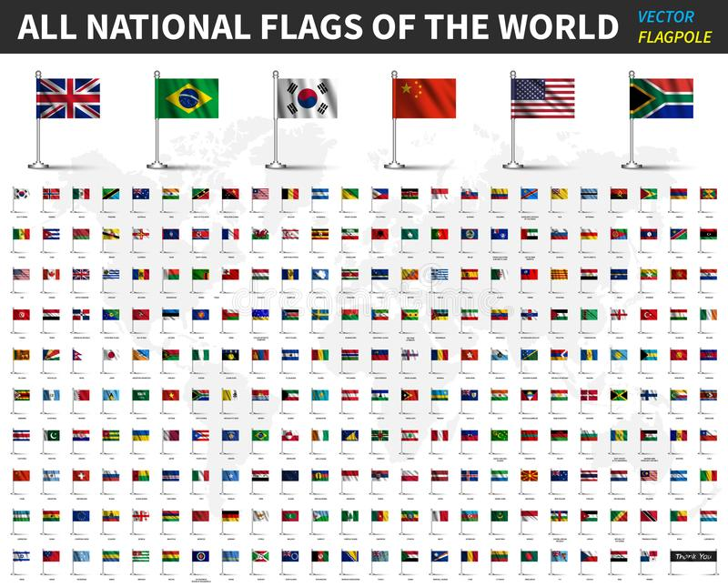 Alle nationale vlaggen van de wereld Realistische golvende stof met vlaggestok en schaduwontwerp Vector stock illustratie