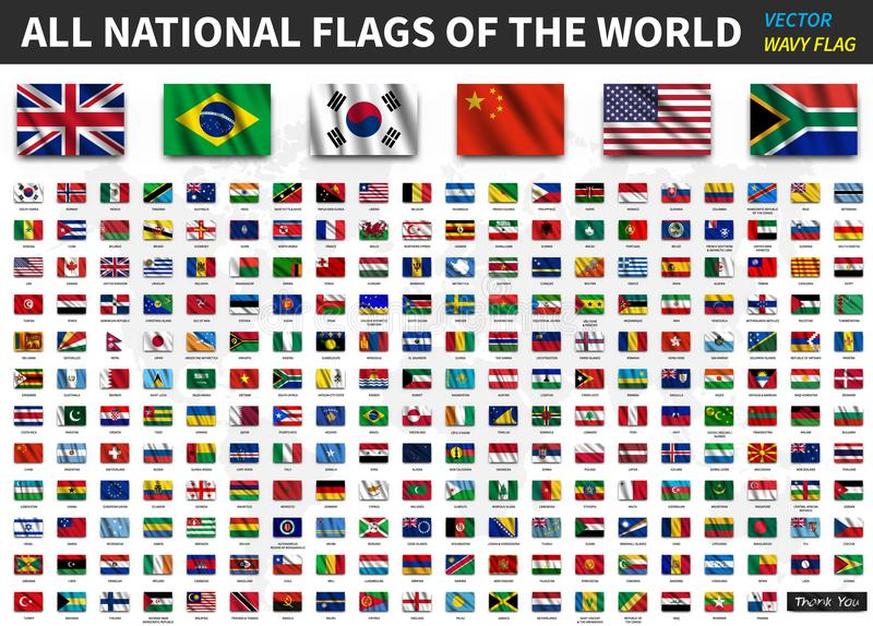 Alle nationale vlaggen van de wereld Realistische het golven stoffentextuur met schaduwontwerp Vector stock illustratie