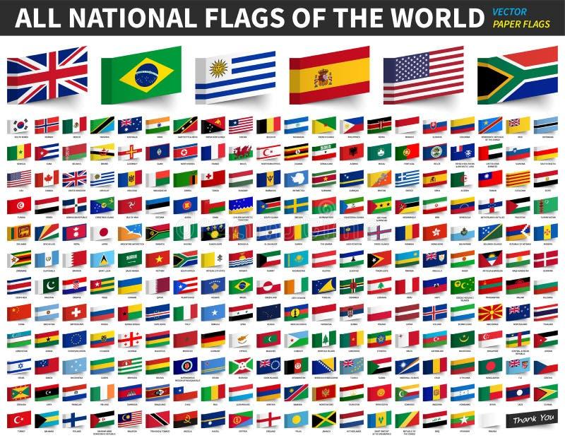 Alle nationale vlaggen van de wereld Zelfklevend document vlagontwerp Vector vector illustratie