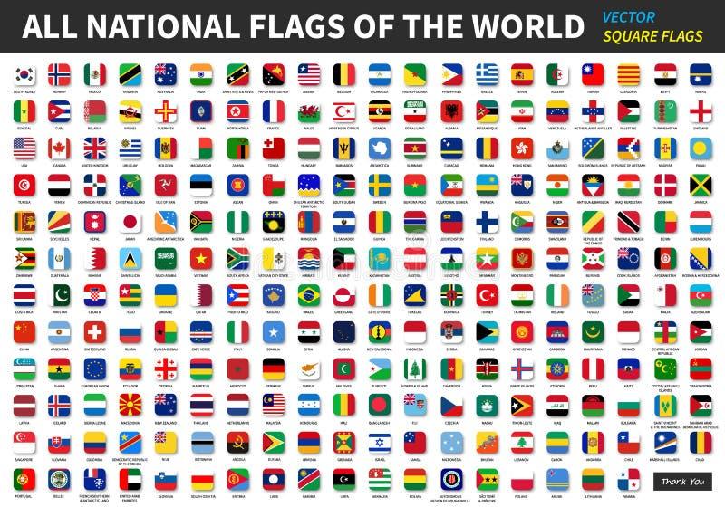 Alle officiële nationale vlaggen van de wereld stock illustratie