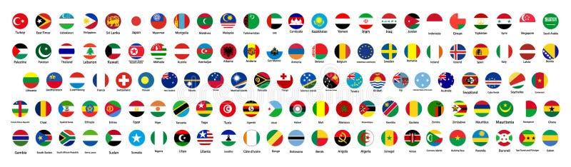 Alle officiële nationale vlaggen van de wereld Cirkelontwerp royalty-vrije illustratie