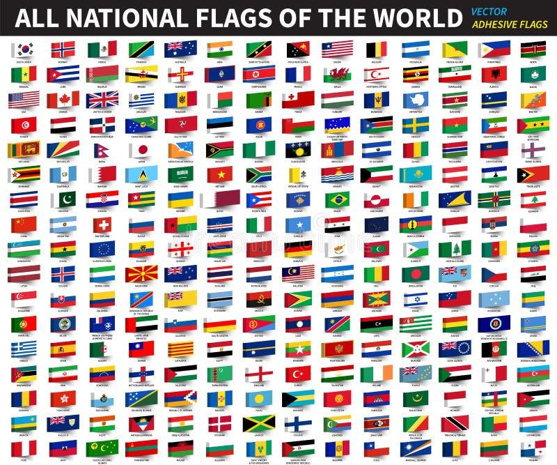 Alle officiële nationale vlaggen van de wereld Zelfklevend ontwerp Vector royalty-vrije illustratie