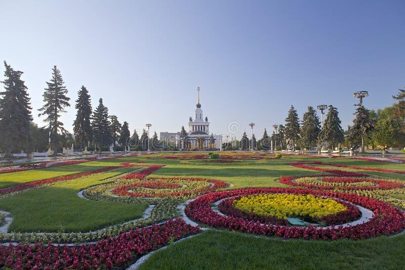 Alle-Russisch Tentoonstellingscentrum, Moskou, Rusland Ladnscapeontwerp stock foto's