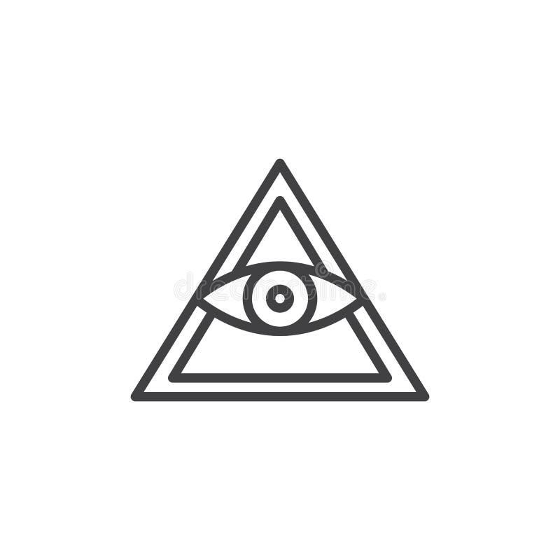 Alle sehende Augenpyramiden-Entwurfsikone lizenzfreie abbildung
