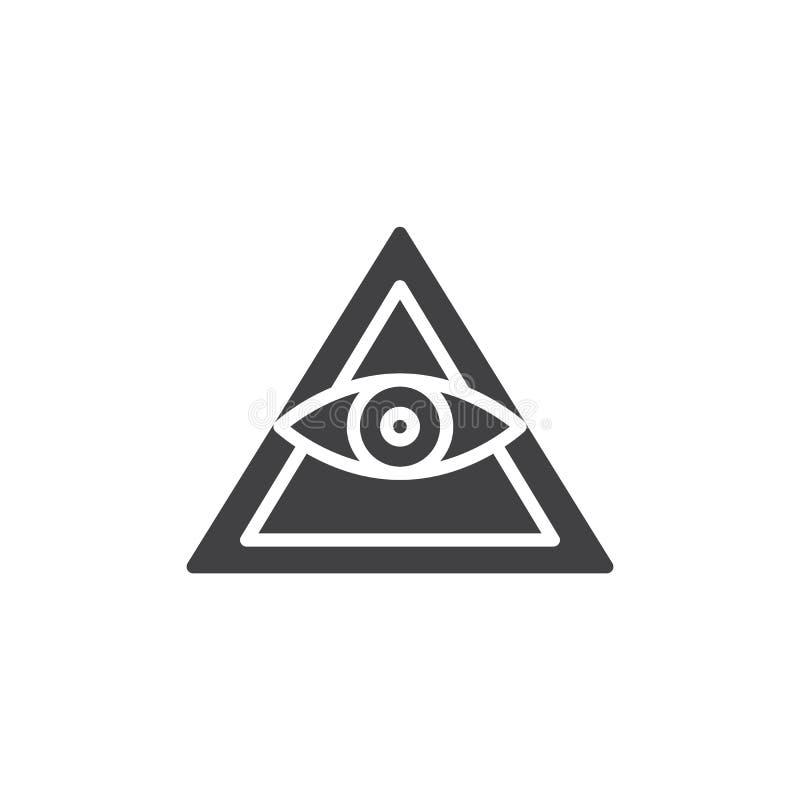 Alle sehende Augenpyramiden-Vektorikone lizenzfreie abbildung