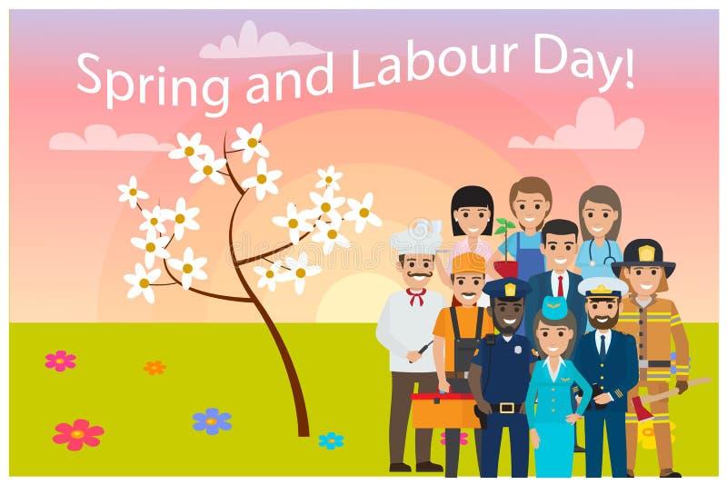 Alle Service-Berufe auf Frühlings-Arbeitstageskarte vektor abbildung