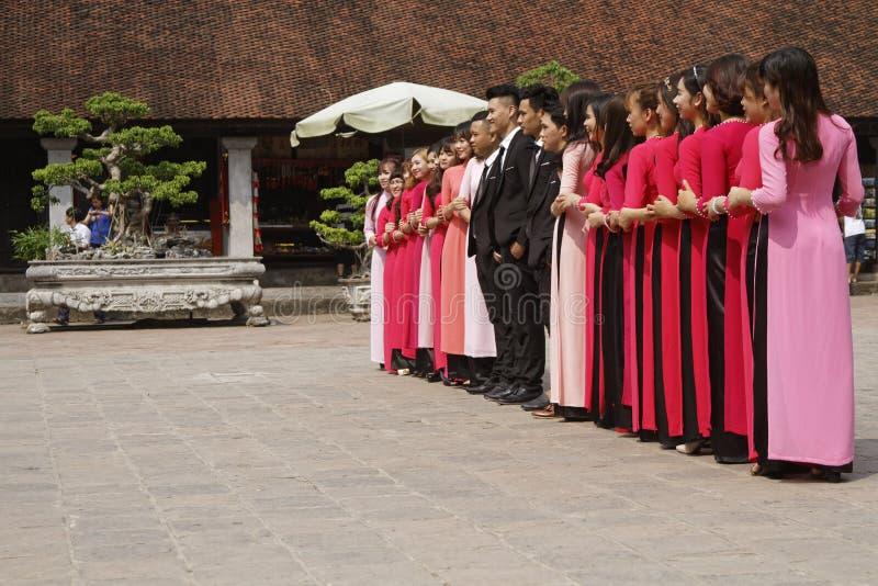 Alle studenten op een rij royalty-vrije stock foto