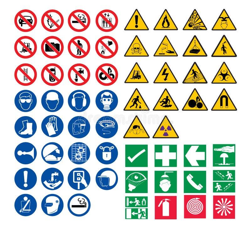 Alle veiligheidstekens stock afbeeldingen