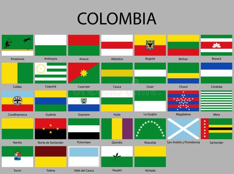 alle Vlaggen van afdelingen van Colombia stock illustratie