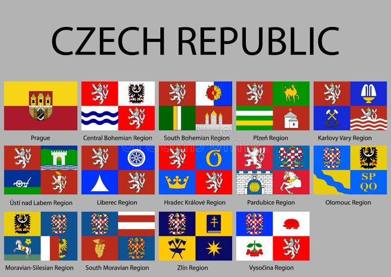 alle Vlaggen van de Republiek van Caech van gebieden stock illustratie