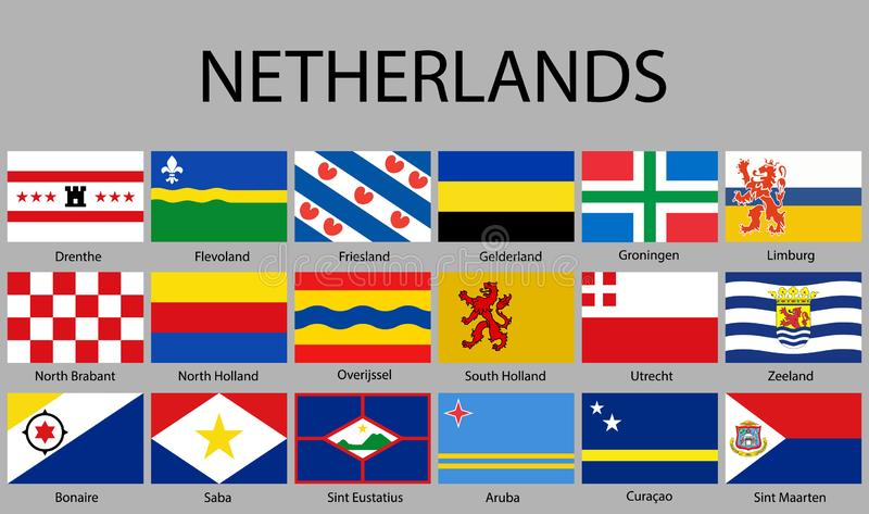 alle Vlaggen van gebieden Nerherlands vector illustratie