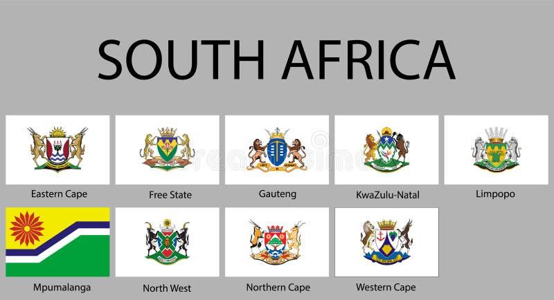 alle Vlaggen van gebieden Zuid-Afrika royalty-vrije illustratie