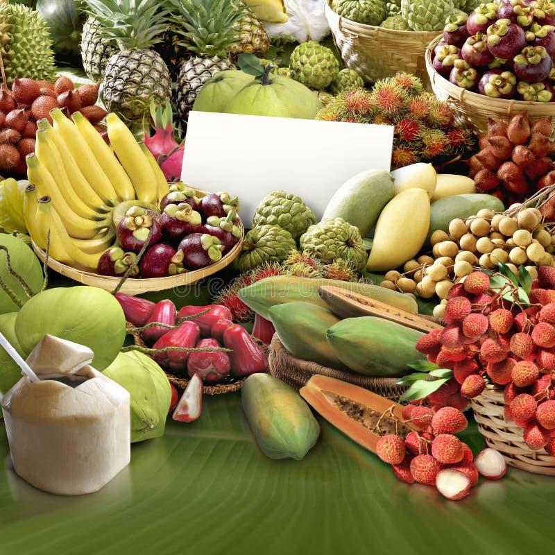 Alle vruchten en het prijsteken stock afbeelding