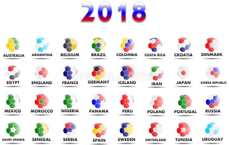 Alle Weltfußballteams, die im Jahre 2018 einschließlich Russland konkurrieren stock abbildung