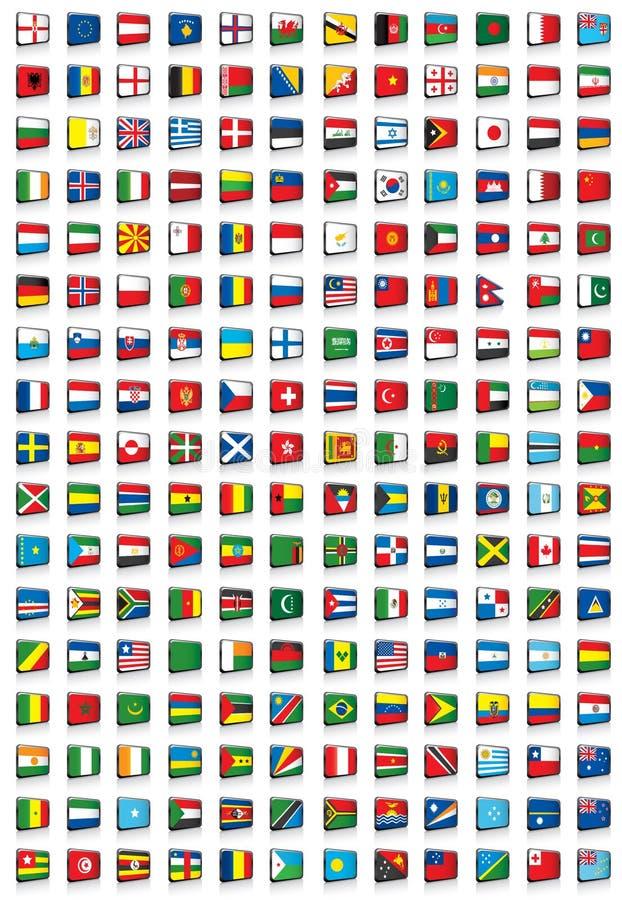 Alle Weltmarkierungsfahnen lizenzfreie abbildung