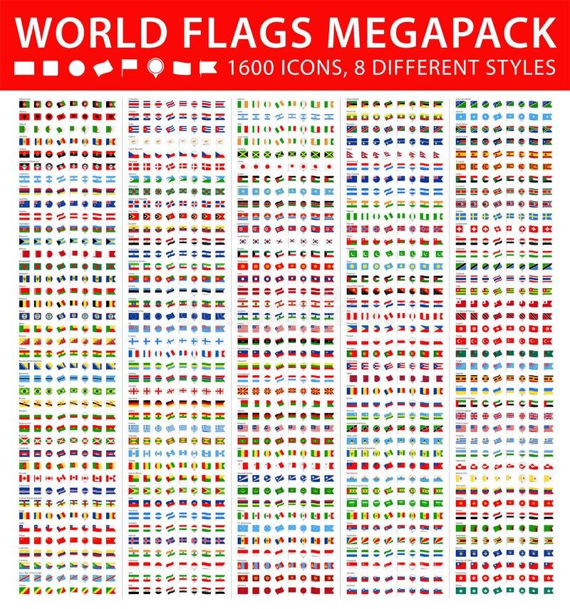 Alle Wereldvlaggen - Megareeks Verschillende stijlen Vector vlakke pictogrammen vector illustratie